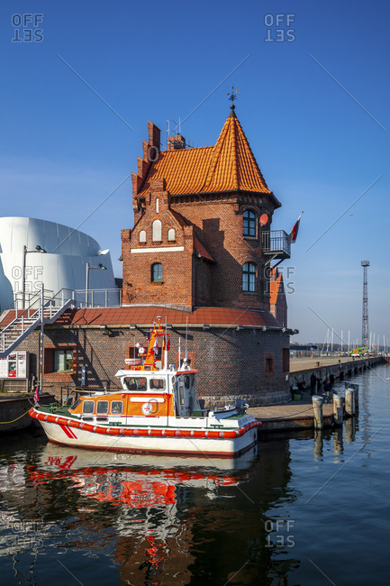 January 15, 2020: Germany- Mecklenburg-West Pomerania- Stralsund- Old building and boat in port