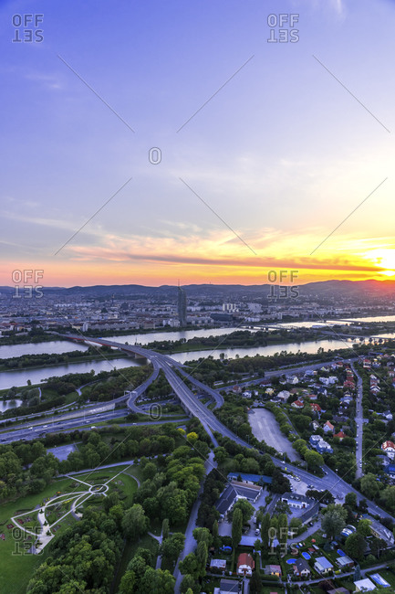 January 15, 2020: Austria- Vienna- Cityscape seen form Danube Tower at sunset