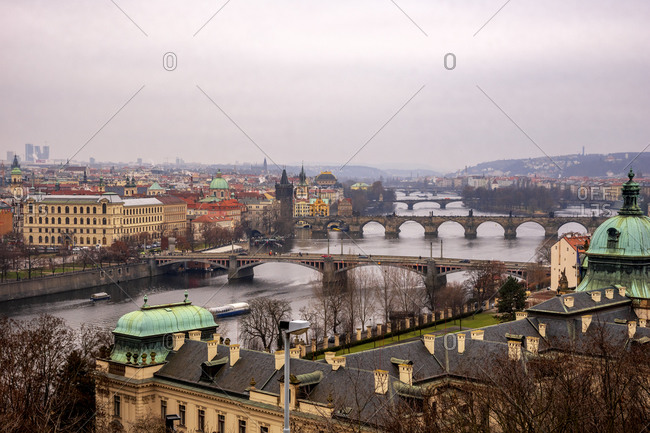 January 15, 2020: Czech Republic- Prague- High angle view of old town and river
