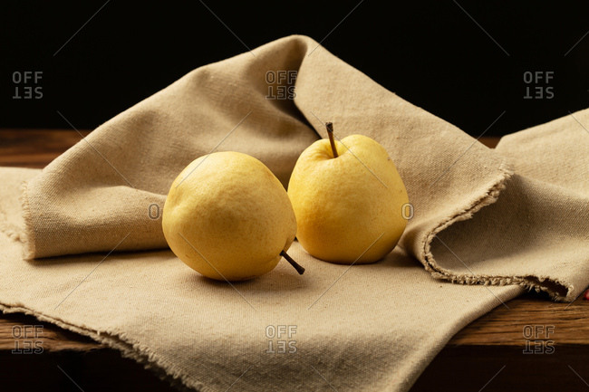 Two pears on the table