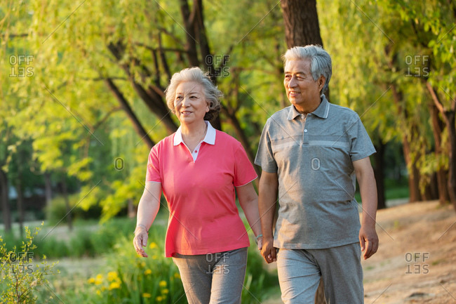 Happy elderly couple walk in the park together