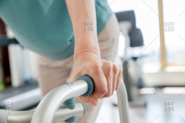 Elderly people in the hospital doing rehabilitation exercise