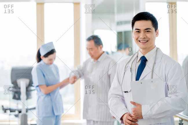 Medical workers and patients meeting