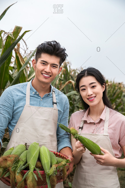 Asian couples to break off the corn