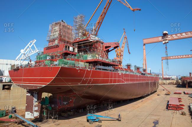 April 15, 2018: Big boat in Hebei qinhuangdao shanhaiguan shipyard