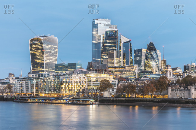 UK- England- London- City of London skyline at dawn