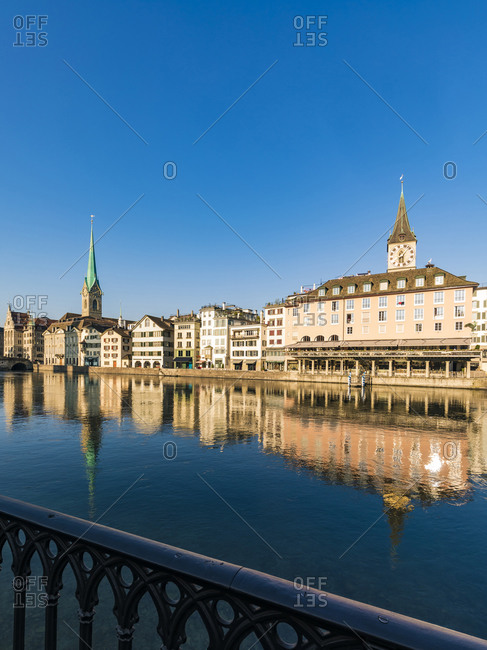 August 25, 2019: Switzerland- Canton of Zurich- Zurich- Old town buildings reflecting in Limmat river