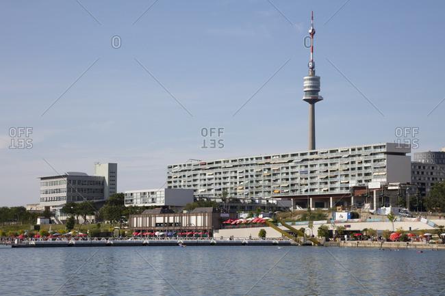 August 8, 2019: Austria- Vienna- Copa Beach with Danube Tower in background