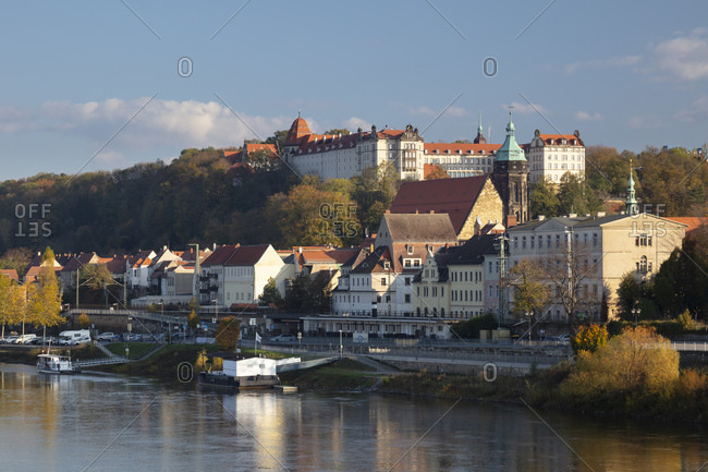 October 30, 2019: Germany- Saxony- Pirna- Town on bank of river Elbe