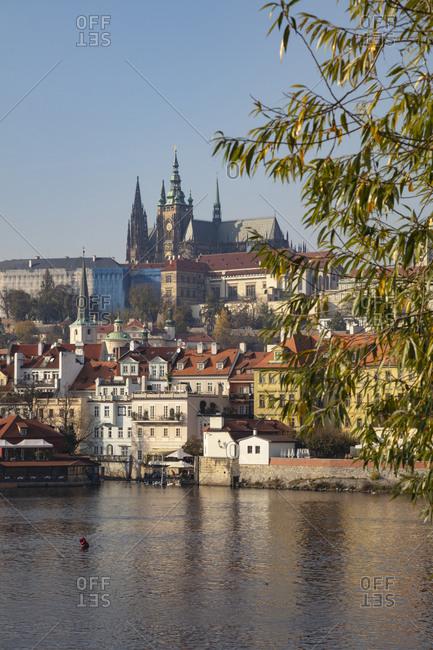 October 31, 2019: Czech Republic- Prague- Prague Castle and St. Vitus Cathedral seen across river