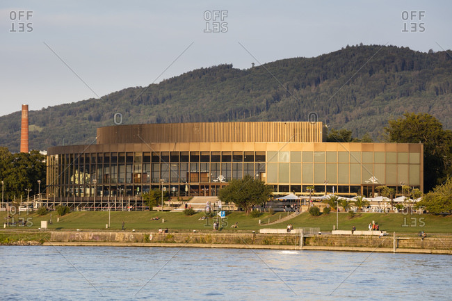 August 17, 2019: Austria- Upper Austria- Linz- Brucknerhaus festival and congress center seen across Danube river
