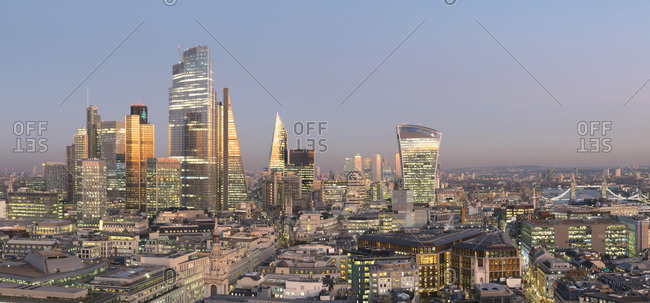 December 2, 2019: City of London, Square Mile, panorama shows completed 22 Bishopsgate tower, London, England, United Kingdom, Europe