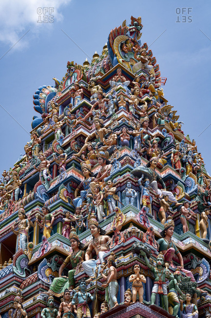 August 24, 2019: The highly decorative Gopuram (entrance tower) to Sri Srinivasa Perumal Hindu Temple in Little India, Singapore, Southeast Asia, Asia