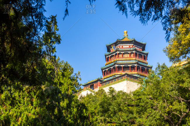 November 8, 2019: View of Tower of Buddhist Incense on Longevity Hill, Summer Palace, UNESCO World Heritage Site, Beijing, People's Republic of China, Asia