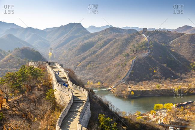 View of Great Wall of China at Huanghua Cheng (Yellow Flower), UNESCO World Heritage Site, Xishulyu, Jiuduhe Zhen, Huairou, People's Republic of China, Asia