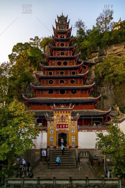 November 14, 2019: View of Shi Baozhai Pagoda on Yangtze River near Wanzhou, Chongqing, People's Republic of China, Asia