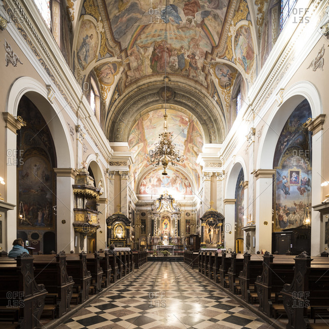 October 8, 2019: Interior of Franciscan Church of the Annunciation, Old Town, Ljubljana, Slovenia, Europe