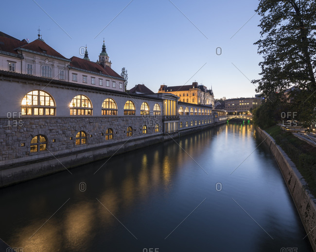 Ljubljanica Canal at twilight, Old Town, Ljubljana, Slovenia, Europe