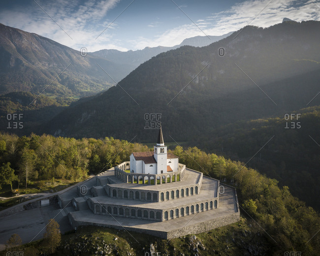 Aerial view by drone of St. Anthony's Sanctuary Caporetto Memorial, Kobarid, Goriska, Slovenia, Europe