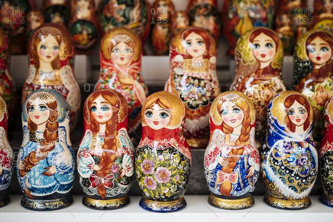 October 21, 2019: Matryoshka dolls, St. Petersburg, Leningrad Oblast, Russia, Europe