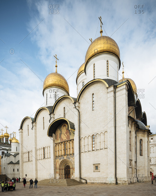 October 23, 2019: Exterior of Dormition Cathedral, The Kremlin, UNESCO World Heritage Site, Moscow, Moscow Oblast, Russia, Europe