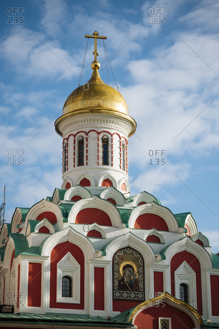 October 23, 2019: Kazan Cathedral, Red Square, UNESCO World Heritage Site, Moscow, Moscow Oblast, Russia, Europe