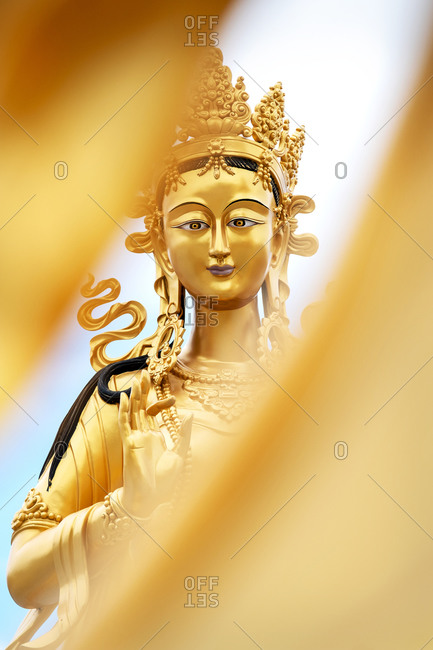 Close-up golden statue near the great Buddha Dordenma in the mountains of Bhutan, Asia