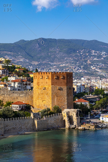 October 18, 2019: Alanya Harbour and The Red Tower, Alanya, Antalya Province, Turkey, Asia Minor, Eurasia