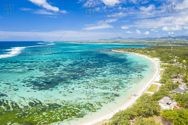 Public Beach by the turquoise Indian Ocean, aerial view, Poste Lafayette, East coast, Mauritius, Indian Ocean, Africa