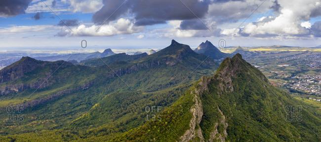 Aerial panoramic of Le Pouce mountain, Moka Range, Port Louis, Mauritius, Africa