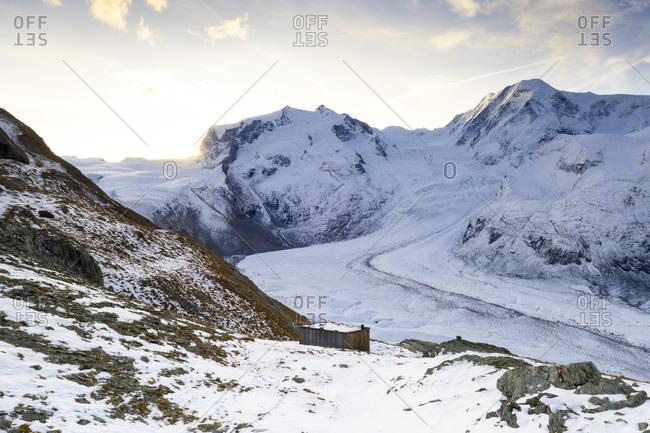 Sunlight over Monte Rosa Glacier, aerial view, Zermatt, canton of Valais, Swiss Alps, Switzerland, Europe