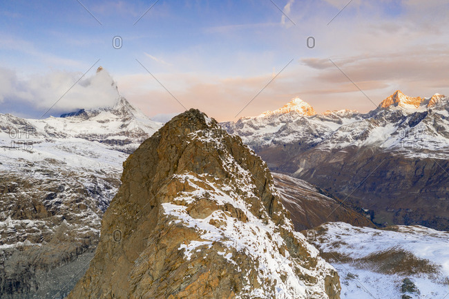 Aerial view of Riffelhorn ridge, Matterhorn and Dent Blanche at sunrise, Zermatt, canton of Valais, Swiss Alps, Switzerland, Europe
