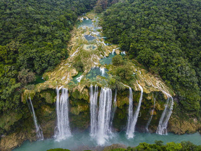 Aerial of the Tamul waterfalls, Huasteca Potosi, San Luis Potosi, Mexico, North America