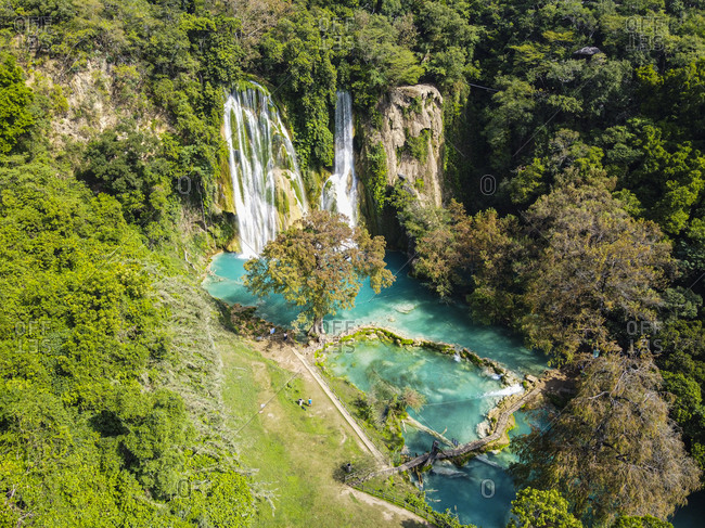 Aerial of the Minas Viejas waterfalls, Huasteca Potosi, San Luis Potosi, Mexico, North America
