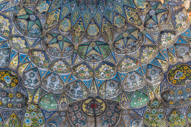 October 21, 2019: Beautiful artwork in the Ahmad Shah Durrani Mausoleum, Kandahar, Afghanistan, Asia