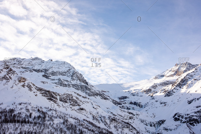 Snow covered mountain in the Swiss Alps