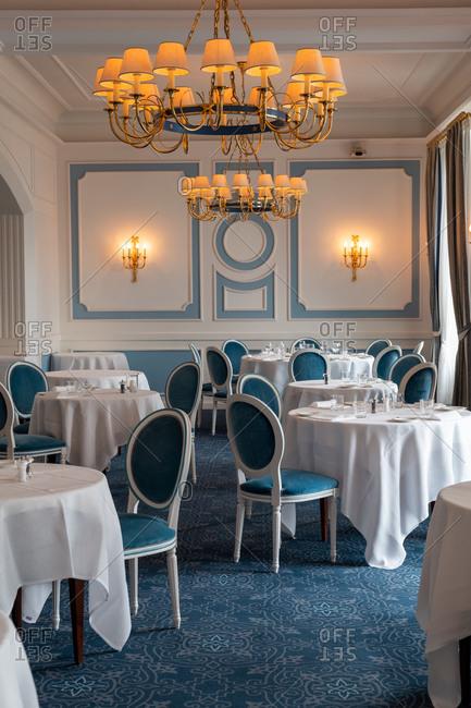 Santa Margherita Ligure, Liguria, Italy - October 30, 2019: Dining room inside the Grand Hotel Miramare restaurant