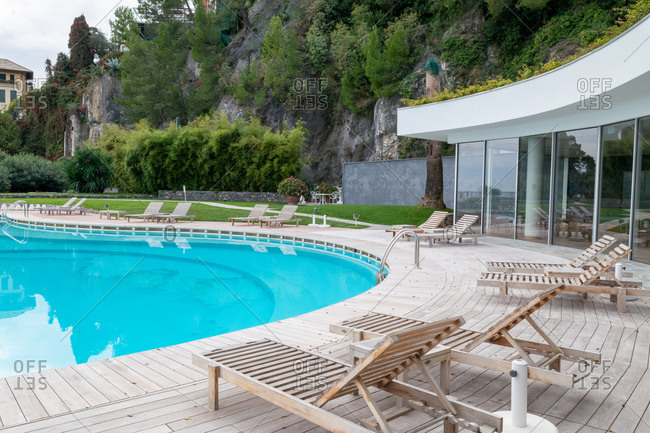 Santa Margherita Ligure, Liguria, Italy - October 30, 2019: Swimming pool at the Grand Hotel Miramare