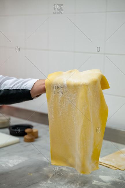 Chef in a restaurant making handmade pasta, Santa Margherita Ligure, Liguria, Italy