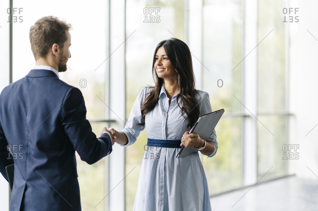 Businessman and businesswoman shaking hands at the window