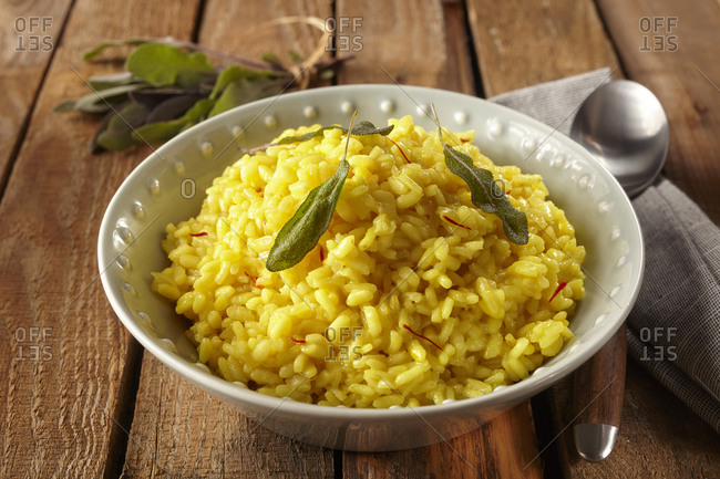 Saffron risotto with sage leaves