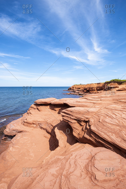 Canada-�Prince Edward Island- Sandstone rock formations of Cavendish Beach
