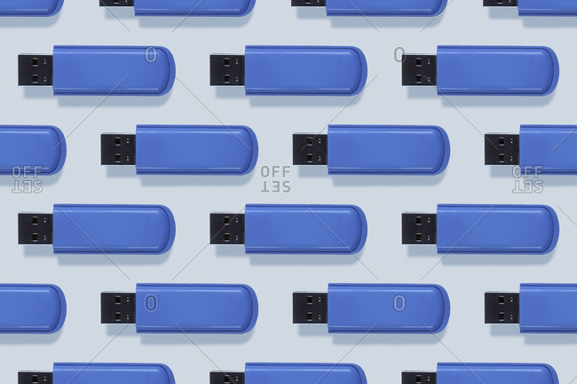 Studio shot of blue USB sticks