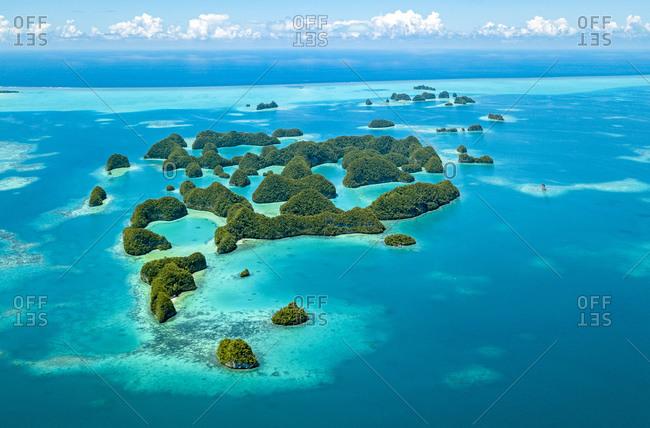 Palau- Aerial view of Seventy Islands