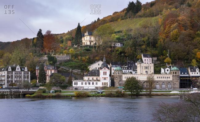 November 14, 2019: Germany- Rhineland-Palatinate- Traben-Trarbach- Riverside town in autumn