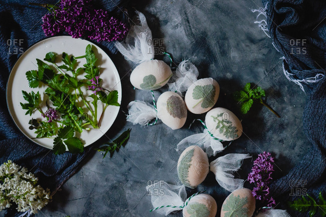 Easter eggs in gauze ready to be naturally dyed with plant material
