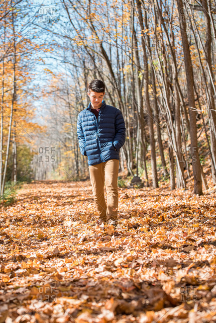 Teenage boy walking alone through the woods on an autumn day.