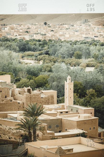 Morocco, Atlas Mountains - April 20, 2019: Old town in atlas mountain range