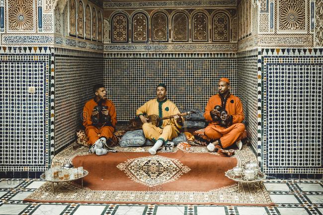 Morocco, Marrakesh-Safi, Marrakesh - April 18, 2019: Riad detail interior in Marrakesh