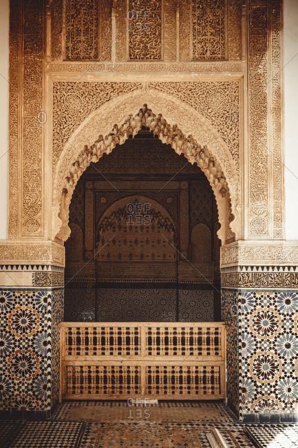 Morocco, Marrakesh-Safi, Marrakesh - April 18, 2019: Traditional Moroccan musicians